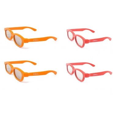 4 Pairs of Childrens Passive 3D Glasses for Kids 2 Red 2 Orange Universal for use with all passive 3d Tvs Cinemas and Projectors