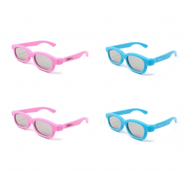 4 Pairs of 3D Glasses for Children 2 Blue and 2 Pink Polorized for RealD Cinema and TV Use