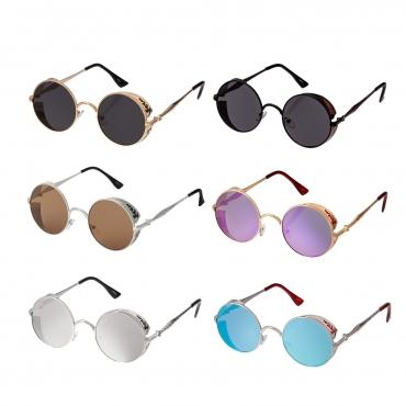 Steampunk Round Sunglasses Retro Men's Women's Cosplay Cyber Glasses UV400 Goggles