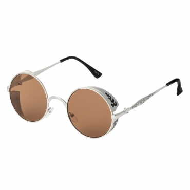 Ultra Steampunk Round Sunglasses Silver with Brown Lenses Retro Mens Women Cosplay Cyber Gothic Vintage UV400 Protection Goggles Blinders Unisex
