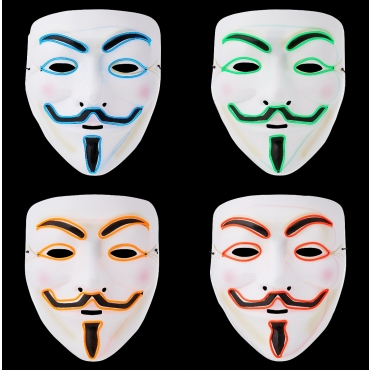 Ultra El Wire Guy Fawkes Mask Halloween Mask Hacker Mask Children Adult Anonymous Mask Guy Fawkes Masks LED Face Mask Cosplay Mask Light Up Mask Adults Kids Face Masks LED Mask