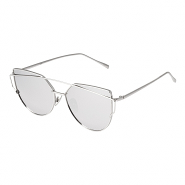 Ultra Silver with Mirrored Lenses Oversized Twin Beam Adults Womans Girls Sunglasses UV400 UVA UVB Protection