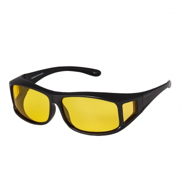 Ultra Black Over Glasses Style with Side Windows Large Over Glasses Night Driving Glasses Men's and Women's Polarised Sunglasses Anti Glare Amber Lens UV400 Polarized Sunglasses Yellow Tinted Glasses Anti Glare Dazzle Golf Sailing