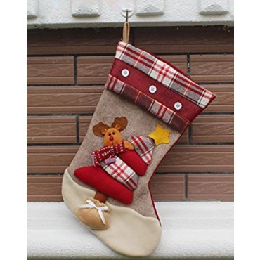 Reindeer Traditional Deluxe Large Tapestry Plaid Style Design Christmas Xmas Stockings 46x27cm