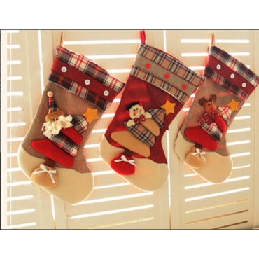 1 Santa Claus 1 Snowman 1 Reindeer Traditional Deluxe Large Tapestry Plaid Style Design Christmas Xmas Stockings 46x27cm
