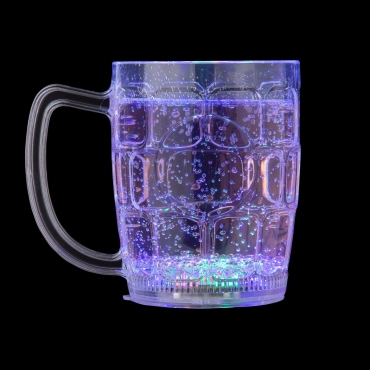 Ultra LED Flashing Plastic Beer Glass with Handles LED Light Bar Water Glasses Plastic Tumblers for Adults Children Beer Stein Glass Disco Light One Pint Cocktail Glass Beer Glass Tankards