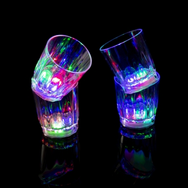 Flashing LED Shot Glasses Novelty Plastic Light Up Re Usable Party Drinks Glass