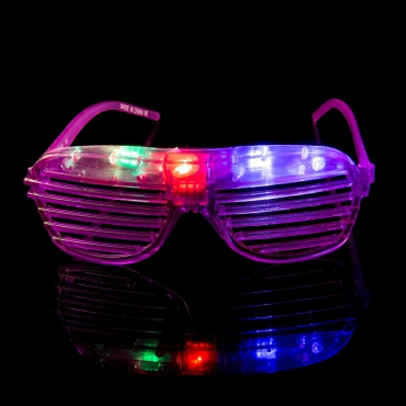 Packs of 1 to 96 Purple Flashing LED Shutter Style Glasses Glow Slotted Plastic Flashing Light Up Shades Eyewear Sunglasses For Music Concerts Parties
