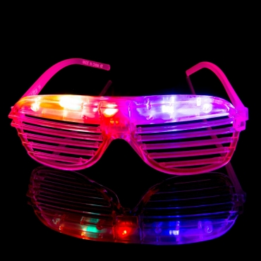Packs of 1 to 96 Pink Flashing LED Shutter Style Glasses Glow Slotted Plastic Flashing Light Up Shades Eyewear Sunglasses For Music Concerts Parties