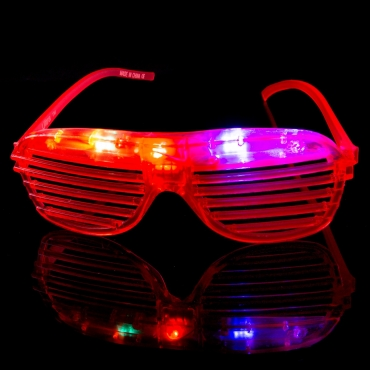 Packs of 1 to 96 Red Flashing LED Shutter Style Glasses Glow Slotted Plastic Flashing Light Up Shades Eyewear Sunglasses For Music Concerts Parties