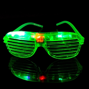 Packs of 1 to 96 Green Flashing LED Shutter Style Glasses Glow Slotted Plastic Flashing Light Up Shades Eyewear Sunglasses For Music Concerts Parties