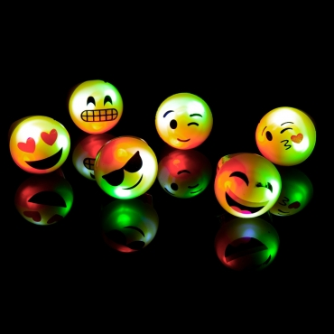 2 Emoticon Flashing Led Jelly Rings Adult Children Party Finger Light Up