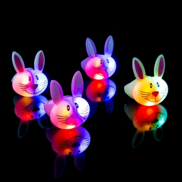 Multi-Coloured Bunny Flashing Led Jelly Ring Adult Children Party Favour Finger