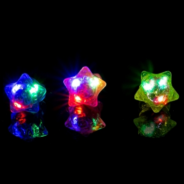 Multi-Coloured Star Flashing Led Jelly Rings Adult Children Party Favour Finger