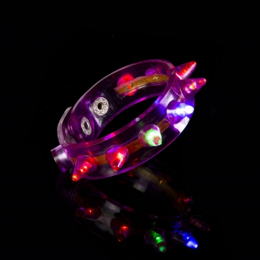 Purple LED Spike Flashing LED Bracelets Spike Light Up Parties Adult Man Woman Children Boy Girl Glowing Illuminated Wristband Spikey Concert Festival