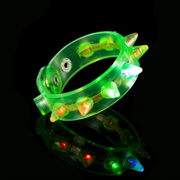 Green LED Spike Flashing LED Bracelets Spike Light Up Parties Adult Man Woman Children Boy Girl Glowing Illuminated Wristband Spikey Concert Festival