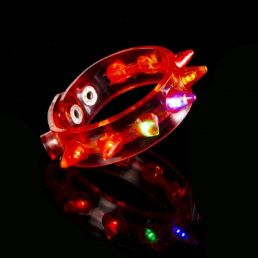 Red LED Spike Flashing LED Bracelets Spike Light Up Parties Adult Man Woman Children Boy Girl Glowing Illuminated Wristband Spikey Concert Festival