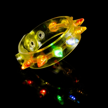 Yellow LED Spike Flashing LED Bracelets Spike Light Up Parties Adult Man Woman Children Boy Girl Glowing Illuminated Wristband Spikey Concert Festival