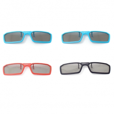 4 Pairs of Passive Universal 3D New Standard Clip on Glasses available in Black Blue and Red for Prescription Eyewear for use with all Passive 3d Tvs Cinema and Projectors