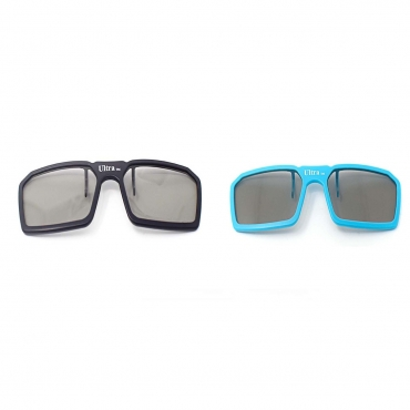 2 Pairs of Passive Universal 3D New Standard Clip on Glasses available in Black Blue and Red for Prescription Eyewear for use with all Passive 3d Tvs Cinema and Projectors