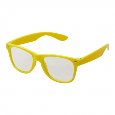 Ultra Yellow Adults Classic Costume Glasses with Clear Lenses Retro Design For Men Women For Fancy Dress Geek Look Cosplay Hipsters World Book Day