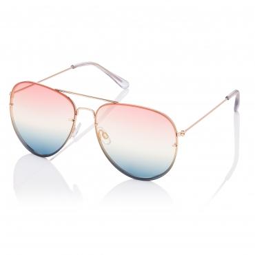 Gold Frame Pink to Blue Lenses Adult Pilot Style Sunglasses Unisex Classic UV400 UVA UVB Unisex Mens Women's Retro Vintage Metal Frame Designer Style 80s Navigator 55mm