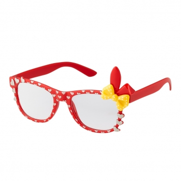 Red Childrens Bunny Ear Heart Bow Style Clear Lens Costume Glasses Girls Fancy Dress Kids Classic Frame World Book Day Geek Nerd Cosplay