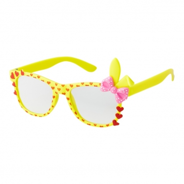 Yellow Childrens Bunny Ear Heart Bow Style Clear Lens Costume Glasses Girls Fancy Dress Kids Classic Frame World Book Day Geek Nerd Cosplay