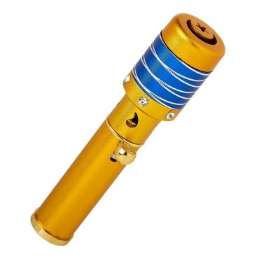 Gold with Blue Striped Top Handheld Incense Burner Diffuser Sticks Cones Vaporizer Bakhoor Bakhur Oudh Oud Wood Jet Butane Flame Pen