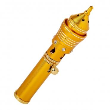 Gold Spiral Traditional Handheld Incense Burner Diffuser Sticks Cones Vaporizer Bakhoor Bakhur Oudh Oud Wood Jet Butane Flame Pen