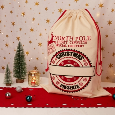 Large Blank Personalised Red North Pole Express Premium Father Christmas Sacks 70cm by 50cm Linen Xmas Gifts Presents Traditional Childrens Adults