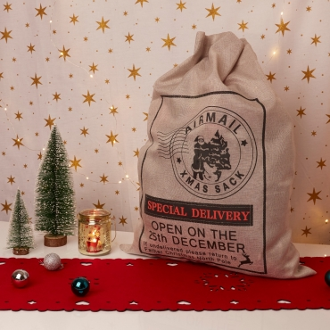 1 Silver and 1 Brown Premium Large Christmas Sacks 70cm by 50cm Linen Santa Snowman Sacks with Ribbon Xmas Gifts Presents Traditional Childrens Adults