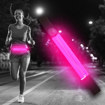 Ultra Pink LED Reflective Running Belt For Women and Men USB Rechargeable Phone Holders Waist Bag Waterproof Pouch Fanny Pack High Visilibilty for Cycling