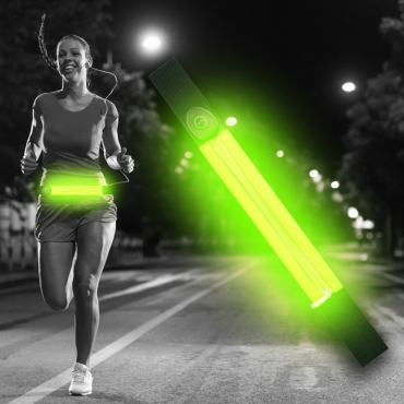 Ultra Green LED Reflective Running Belt For Women and Men USB Rechargeable Phone Holders Waist Bag Waterproof Pouch Fanny Pack High Visilibilty for Cycling