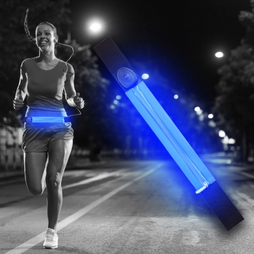 Ultra Blue LED Reflective Running Belt For Women and Men USB Rechargeable Phone Holders Waist Bag Waterproof Pouch Fanny Pack High Visilibilty for Cycling