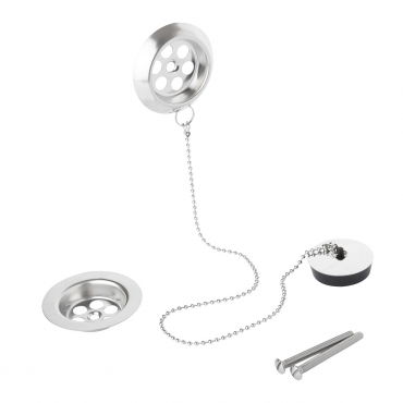 Pack of 2 Stainless Steel Retainer Bath Plug Waste and Overflow 45cm Ball Chain Including Water Plug with 70mm Diameter Waste Assembly