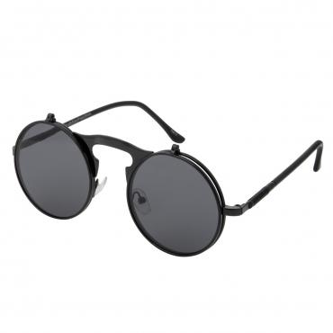 Ultra Black Frame Black Lenses Round Flip-Up Steampunk Sunglasses UV400 UVA UVB Protection Mens Womens Retro Goggles Vintage Goth Glasses Unisex