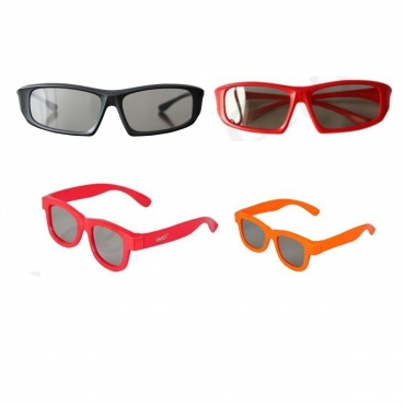 Family Pack 4 Pairs of Passive 3D Glasses 2 adults and 2 kids for all Passive TVs Cinema and Projectors such as RealD Toshiba LG Panasonic and more-1 Black 1 Red Adult 1 Red 1 Orange Childrens