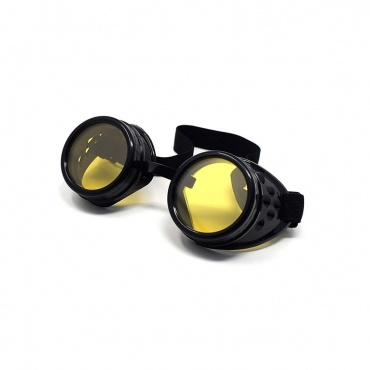 Ultra Black with Yellow Lenses Rivet Steampunk Goggles Mens Womens Cyber Glasses Victorian Punk Welding Cosplay Goth Rustic Rivet Round Eyewear
