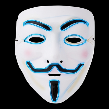 Ultra El Wire Guy Fawkes Mask Halloween Mask Hacker Mask Children Adult Anonymous Mask Guy Fawkes Masks LED Face Mask Cosplay Mask Light Up Mask Adults Kids Face Masks LED Mask-blue