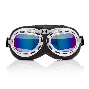 Ultra Silver & Blue Lenses Vintage Classic Motorcycle Helmet Mens Womens Steampunk Retro Cyber Pilot Flying Goggles WW2 Cosplay Eyewear Unisex