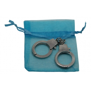 Ultra Mini 12cm Metal Handcuff cuff shaped keychain for keyrings keys 12cm in size including a blue gift bag
