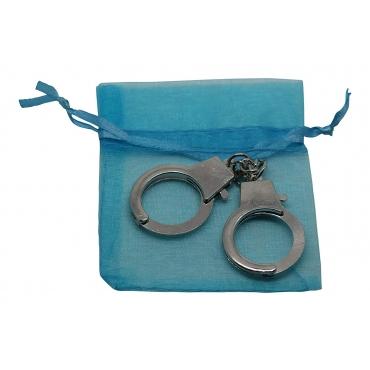 Ultra Mini New 12cm Metal Handcuff Cuff Shaped Keychain for Keyrings Keys 12cm Including a Blue Gift Bag Gift Keyring Novelty