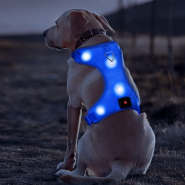 Blue Harness USB Rechargeable LED Dog Harnesses Light Up Harness Anti Pull Safety Light Up Dog Harness Flashing Dog Harness