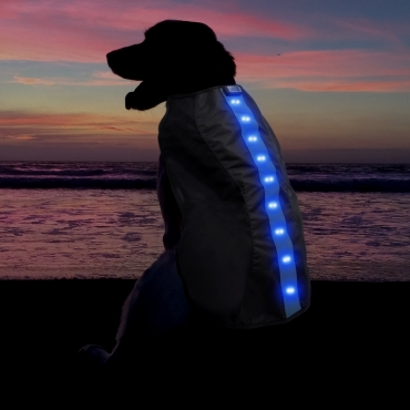 Ultra Blue  Waterproof Dog Coat LED Jacket Dog Raincoats Waterproof for Night Time Walking Visibility Dog Rain Mac Fluorescent Dog Coats LED Dog Coat Dog Walking LED Coat Doggy Raincoat