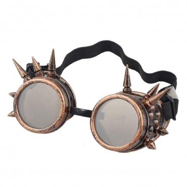Ultra Bronze with Brown Lenses Spike Steampunk Goggles Mens Womens Cyber Glasses Victorian Punk Welding Cosplay Goth Rustic Round Eyeweara Goggles Cyber Glasses Victorian Men's Women's Cosplay Goth Round-Bronze with Brown Lenses Spike