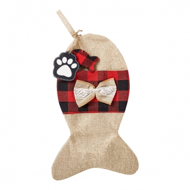 Ultra 1 Burlap Fish Cat and Dogs Christmas Stocking Dog Christmas Stocking Cat Christmas Stocking Plaid Burlap Stockings for Dog Gifts Cat Gifts Xmas Stockings Dog Treat Holder for Festive Dog Treats Bag