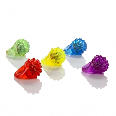 Flashing Led Bumpy Jelly Style Rings Adult Children Party Favour Finger Light Up