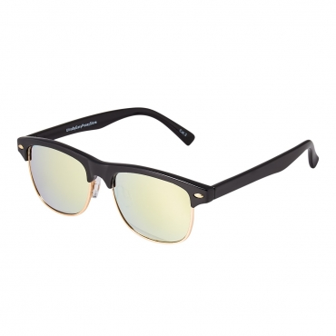 Black Frame with Real Gold Lenses Childrens Sunglasses Round Half Frame Kids Glasses UV400 Retro Classic Boys Girl