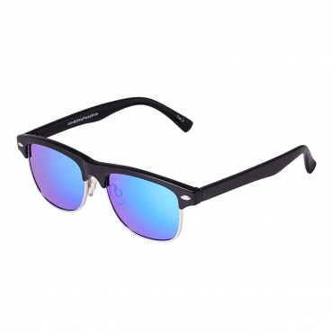 Black Frame with Real ice Blue Lenses Childrens Sunglasses Round Half Frame Kids Glasses UV400 Retro Classic Boys Girl